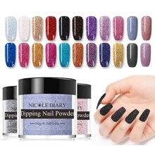 NICOLE DIARY 10g  Dipping Nails Powder Colorful Nail Glitter Natural Dry DIY Nail Art Decorations Designs