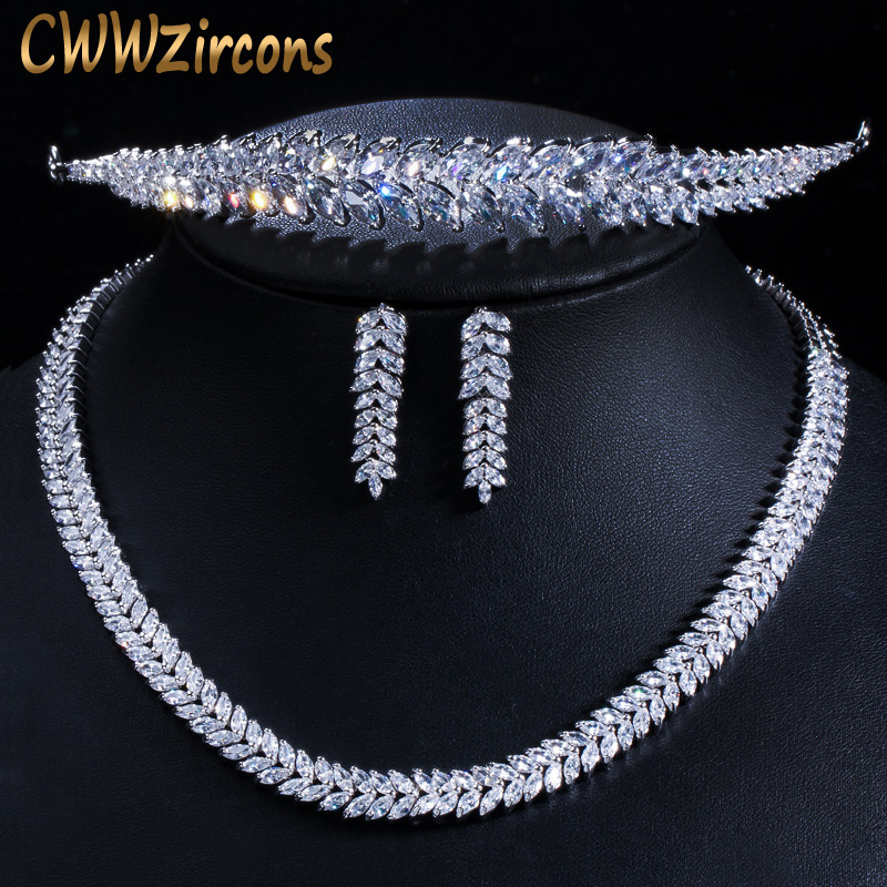 CWWZircons Shiny Marquise Cut Cubic Zirconia Bridal Necklace Earrings and Tiara Jewelry Sets for Wedding Hair