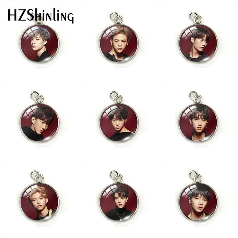 Newest Kpop Stray Kids Group Members Glass Cabochon Stainless Steel Pendant Kpop Stray Kids Jewelry Charms Gifts for Fans