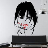 Makeup Wall Decal Vinyl Sticker Home Decor Eyes Girl Woman Lips Cosmetic Hairdressing Hair Beauty Salon