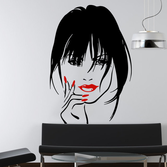 Makeup Wall Decal Vinyl Sticker Home Decor Eyes Girl Woman Lips Cosmetic Hairdressing Hair Beauty Salon Wall Sticker M-55