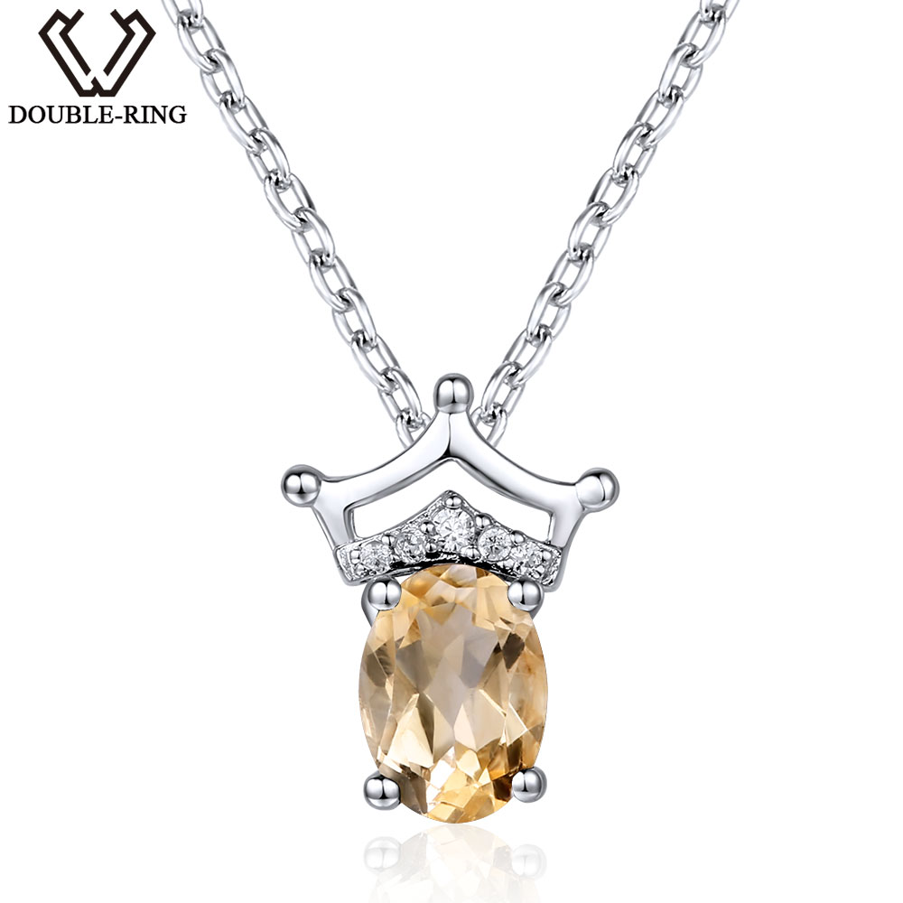 DOUBLE-R 0.76ct Natural Citrine Gemstone 925 sterling silver pendants Fine wedding jewelry pendant Necklace for womenDOUBLE-R 0.76ct Natural Citrine Gemstone 925 sterling silver pendants Fine wedding jewelry pendant Necklace for women