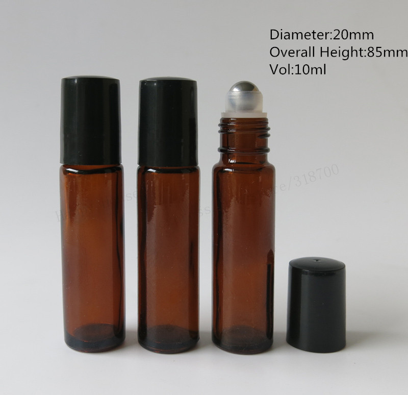 Купить с кэшбэком High quality 30/lot 10ml amber glass roll on bottle,brown perfume roll-on bottle with black plastic lids,essential oil use