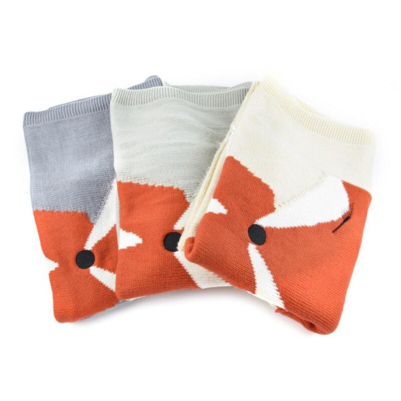 Baby Wool Blanket Fox Pattern With Ears Blanket Baby Knitted Rug