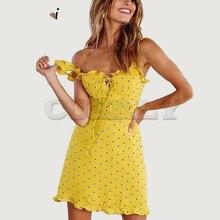 Cuerly Ruffle lace up strap short summer dress women 2019 beach polk dot sexy sundress vestidos Daily red print dresses L5