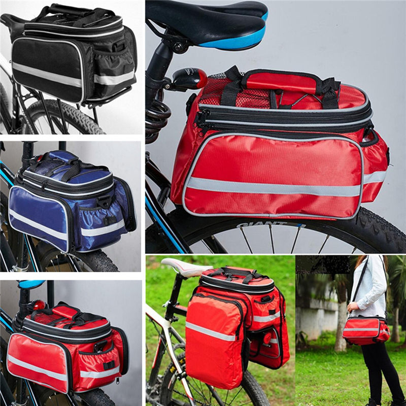 New Arrival 32x17x19cm Waterproof Bicycle Pannier <font><b>Seat</b></font> Bike Cycling Rear Tail <font><b>Rack</b></font> Storage Pouch Bag 3Colors Bicycle Accessories