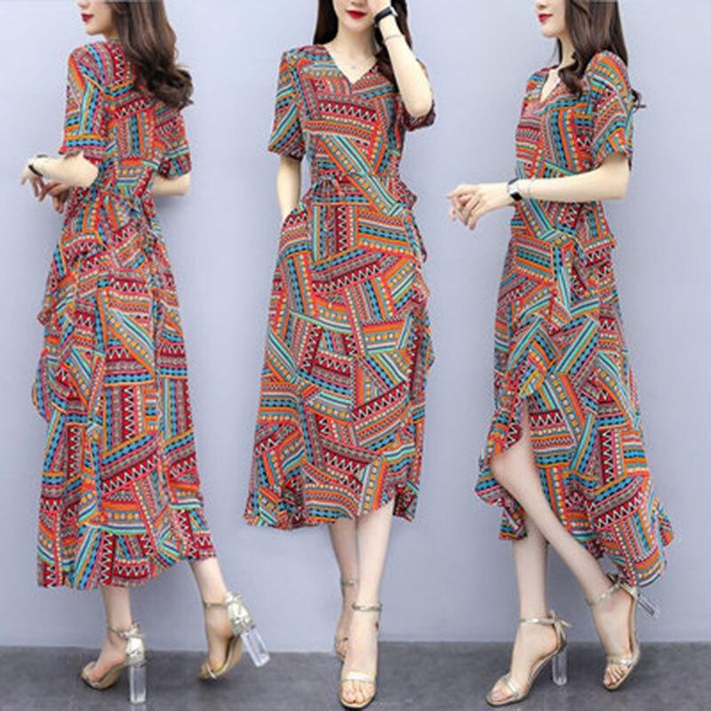 Femmes robe d'été Boho Style imprimé en mousseline de soie robe de plage tunique robe d'été lâche élégant robe de soirée Vestidos grande taille 2XL A271