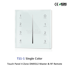 85-265VAC 4 Zone 2.4G led Touch Panel DMX512 Master & RF Remote for single color/color temperature/RGB/RGBW led strip gledopto 2 4g rf rgb rgbw wall led panel remote control rgbw wall touch panel wireless rf touch remote 4 zone led wall panel