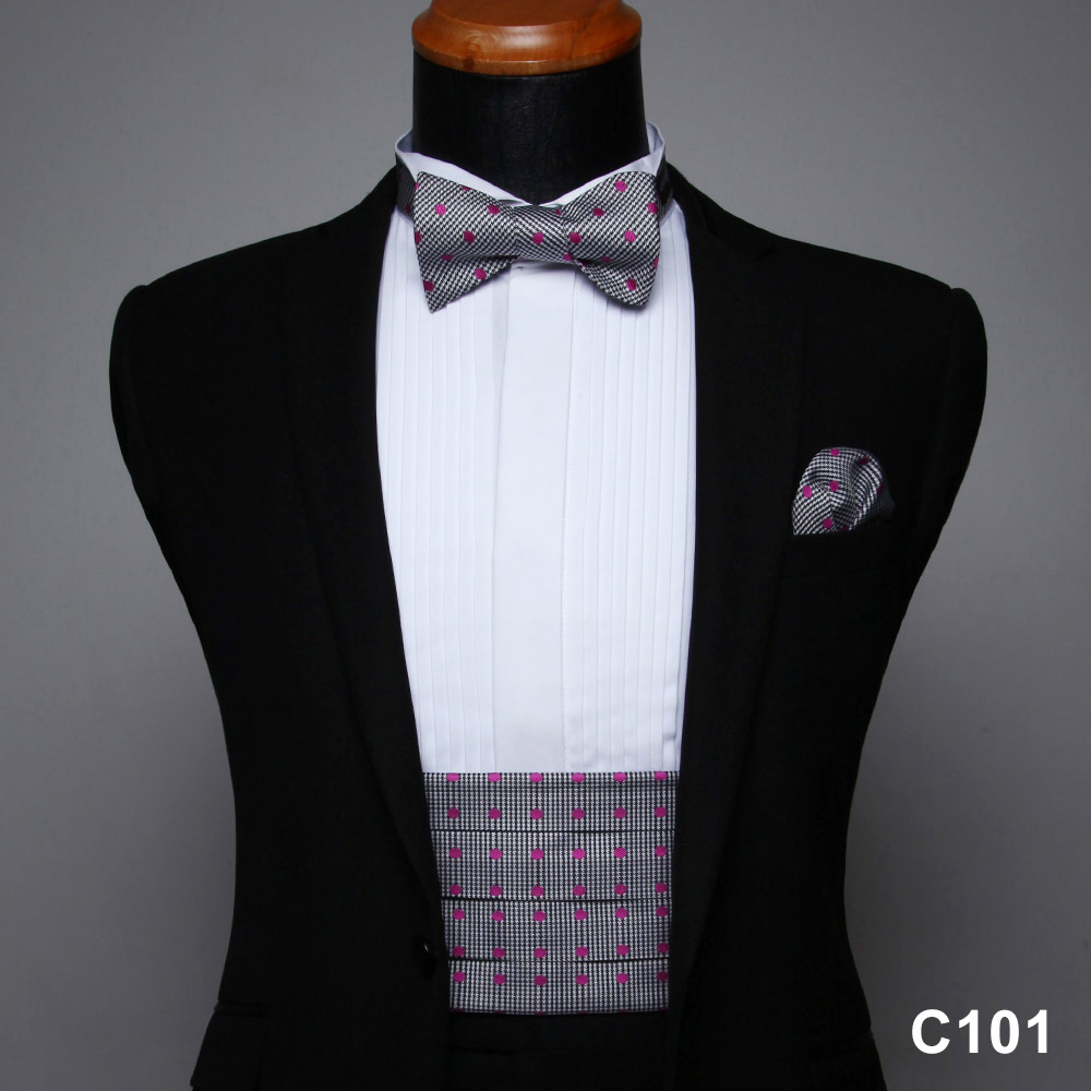 Men's Formal Cummerbund  & Pocket Square& Various Colors And Patterns Bow Tie Set #C1
