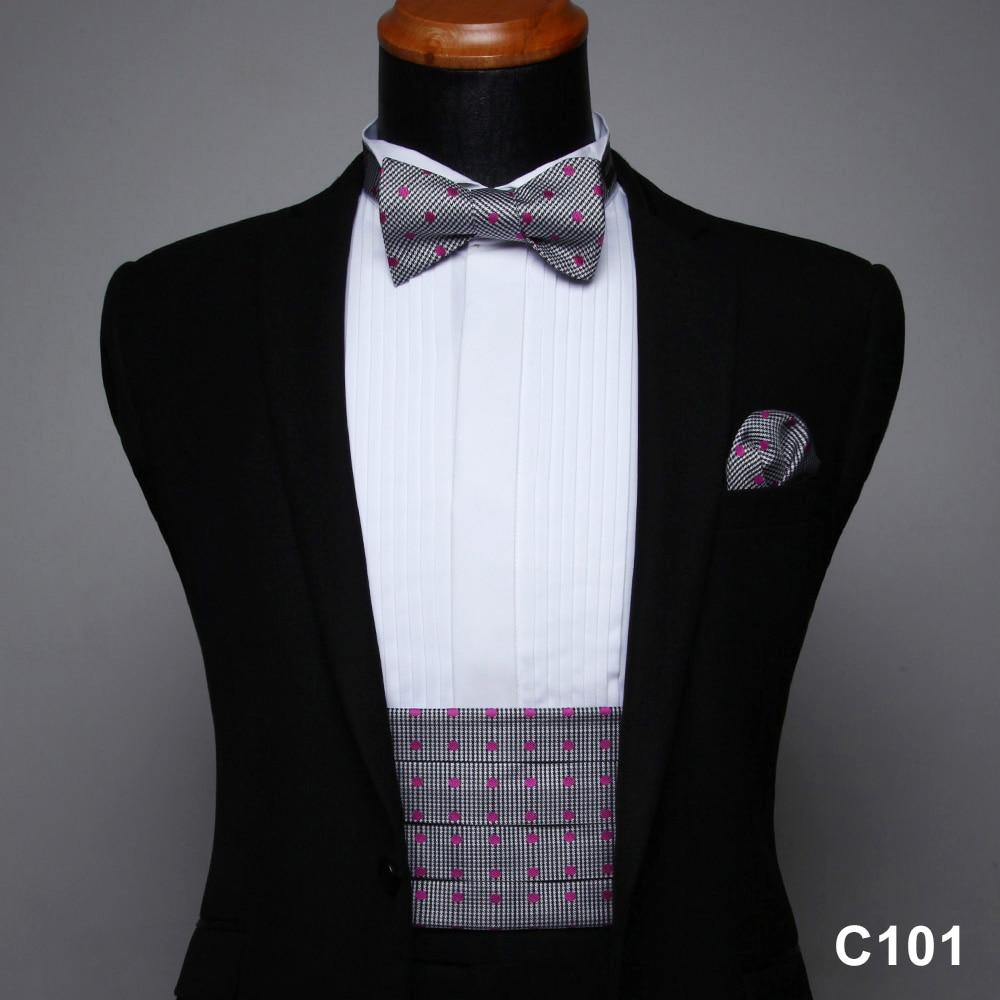 Men's Formal Cummerbund  & Pocket Square& Various Colors And Patterns Bow Tie Set #C1