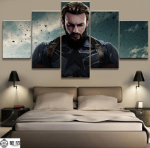 Hot Sales Without Frame 5 Panels Picture Marvel Captain America Thor Film Canvas Print Painting Artwork Wall Wholesale