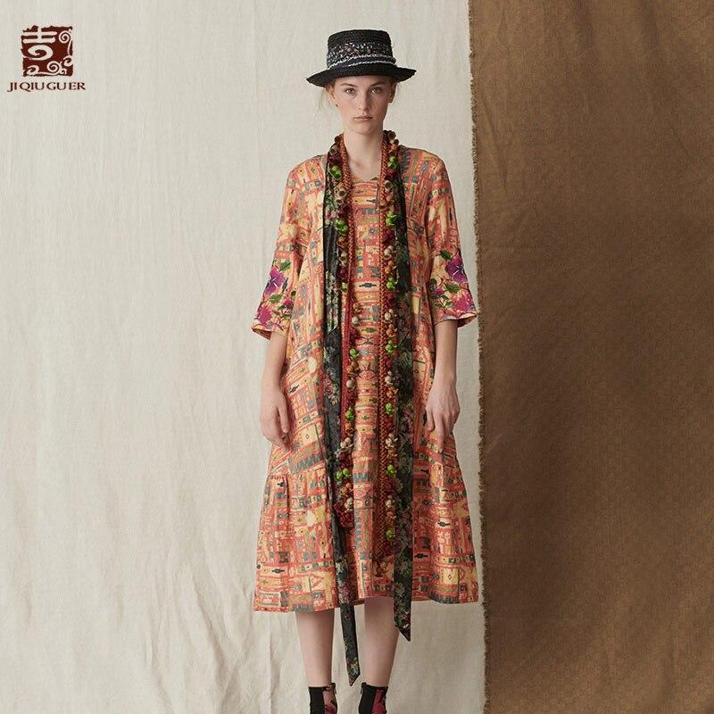 Jiqiuguer для женщин осень Цветочный повседневное Vestidos пуловер вышивка три четверти печати до середины икры 100% лен плюс платья для G183Y002