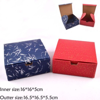 25PCS 16*16*5CM Candy/Cosmetic/Jewerly Red Blue color Corrugated paper box with lid, handmade gift boxes,Essential oil /soap box