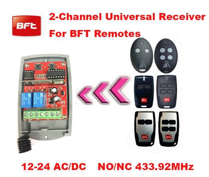 Universal 2 channel Wireless Garage Door 433MHZ Receiver  compatible with FAAC/BFT/v2/Novofer receiver, 12v/24v DC/AC wireless pager system 433 92mhz wireless restaurant table buzzer with monitor and watch receiver 3 display 42 call button