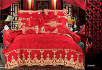 European Luxury Royal Bedclothes Stain Jacquard Queen King Size Bedding Set 4 7Pcs Wedding Bed Set