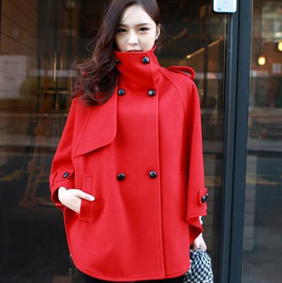 05882c13a66 New women s woolen coat Stand collar Cape Coat Winter Jacket double  breasted coat overcoat-in Wool   Blends from Women s Clothing   Accessories