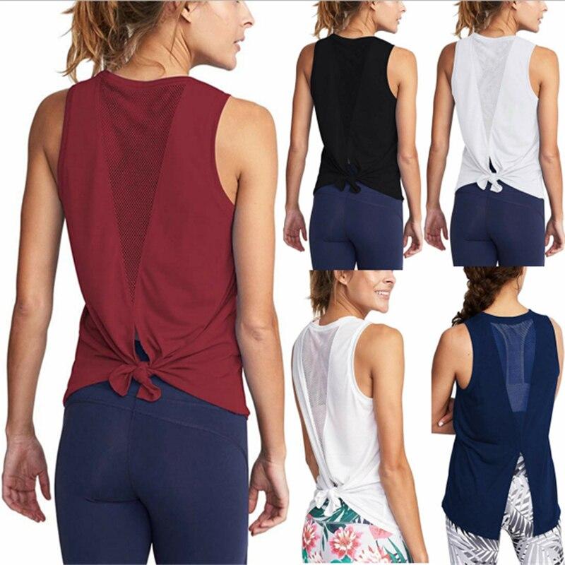 Women Gym Shirt Summer Yoga Tank Top Quick Dry Mesh Sport Vest Women Fitness Clothes Sleeveless Workout Shirt Running Sportswear