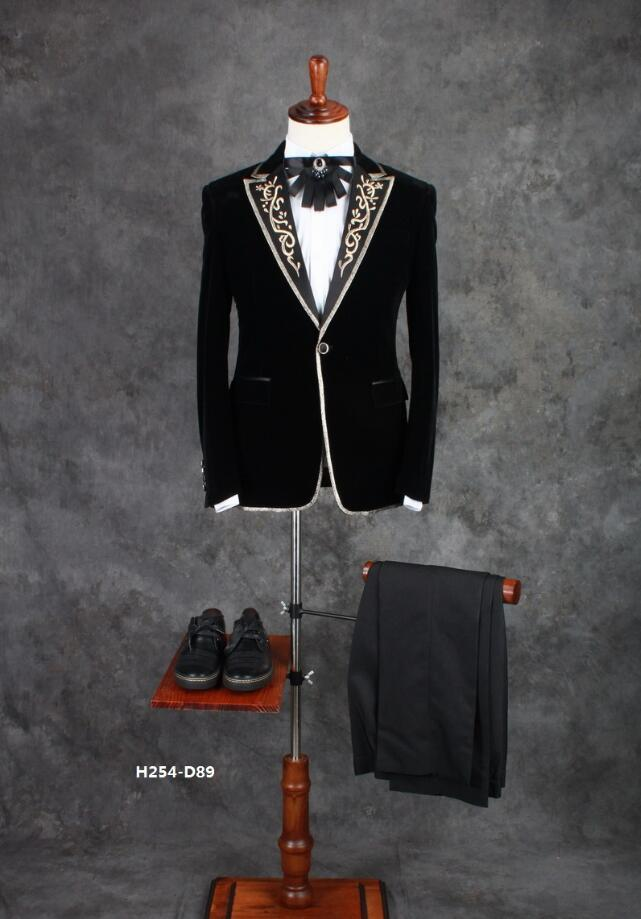 Jay Chou with the mens host dress set bridegroom studio stage performance men collar embroidered suit Prom Blazer ! M-5XL