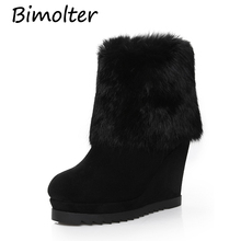 Bimolter Fashion High Quality Cow Suede Leather Ankle Boots Wedges Women Winter Warm Real Rubbit Fur Snow Black LAEB039