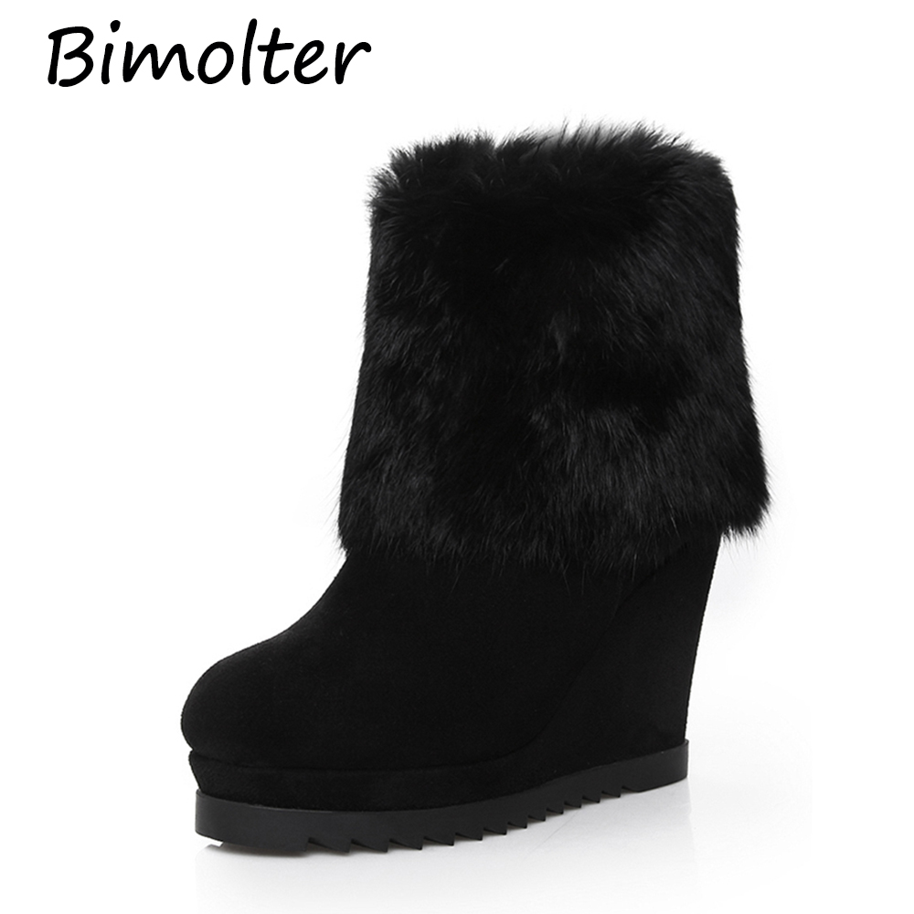 Bimolter Fashion High Quality Cow Suede Leather Ankle Boots Wedges Women Winter Warm Real Rubbit Fur Snow Boots Black LAEB039
