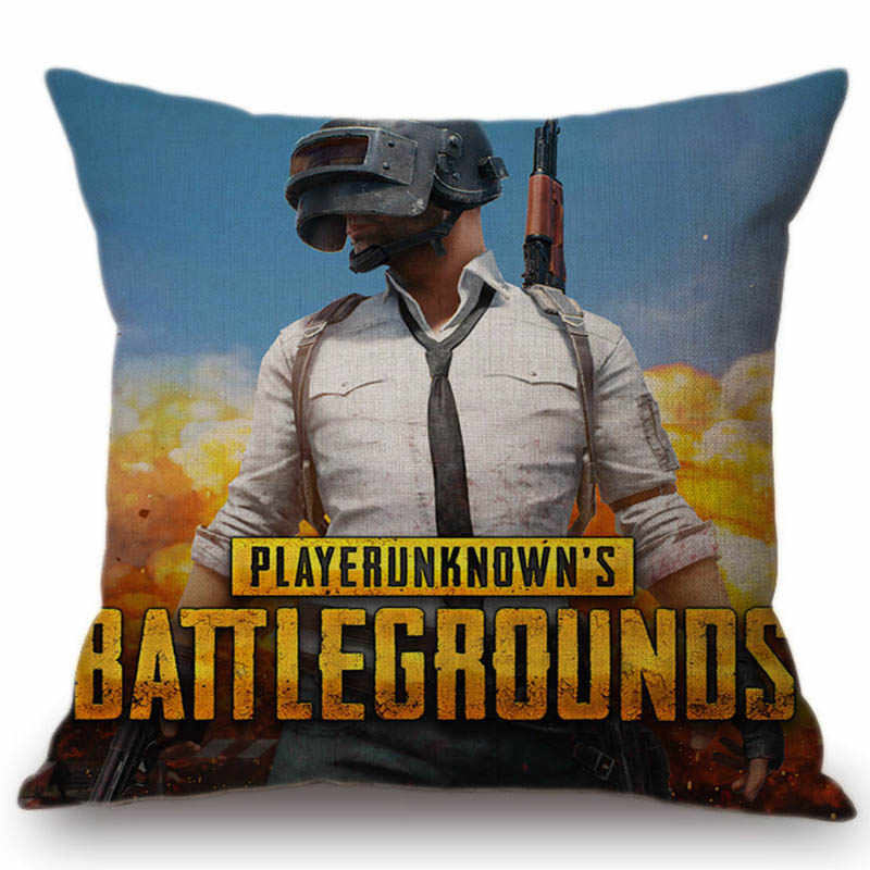 PUBG Letter Print Black Chicken Dinner Video Game Home Decorative Chair  Pillow Cover Cotton Linen Rectangle Sofa Cushion Cover