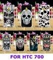 Жесткий Пластик и Мягкий ТПУ Телефон Капот Случаях Для HTC Desire 700 709D 7088 7060 Задняя Крышка DIY Прохладный Шаблон Черепа Телефон аксессуары