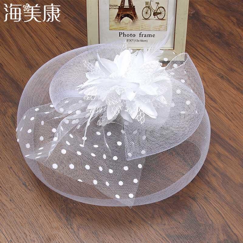 Haimeikang Lady Elegant Fascinator Hat Clips Women Hairpins Flower Hair Accessories Wedding Church Hat Cocktail Feather Headwear