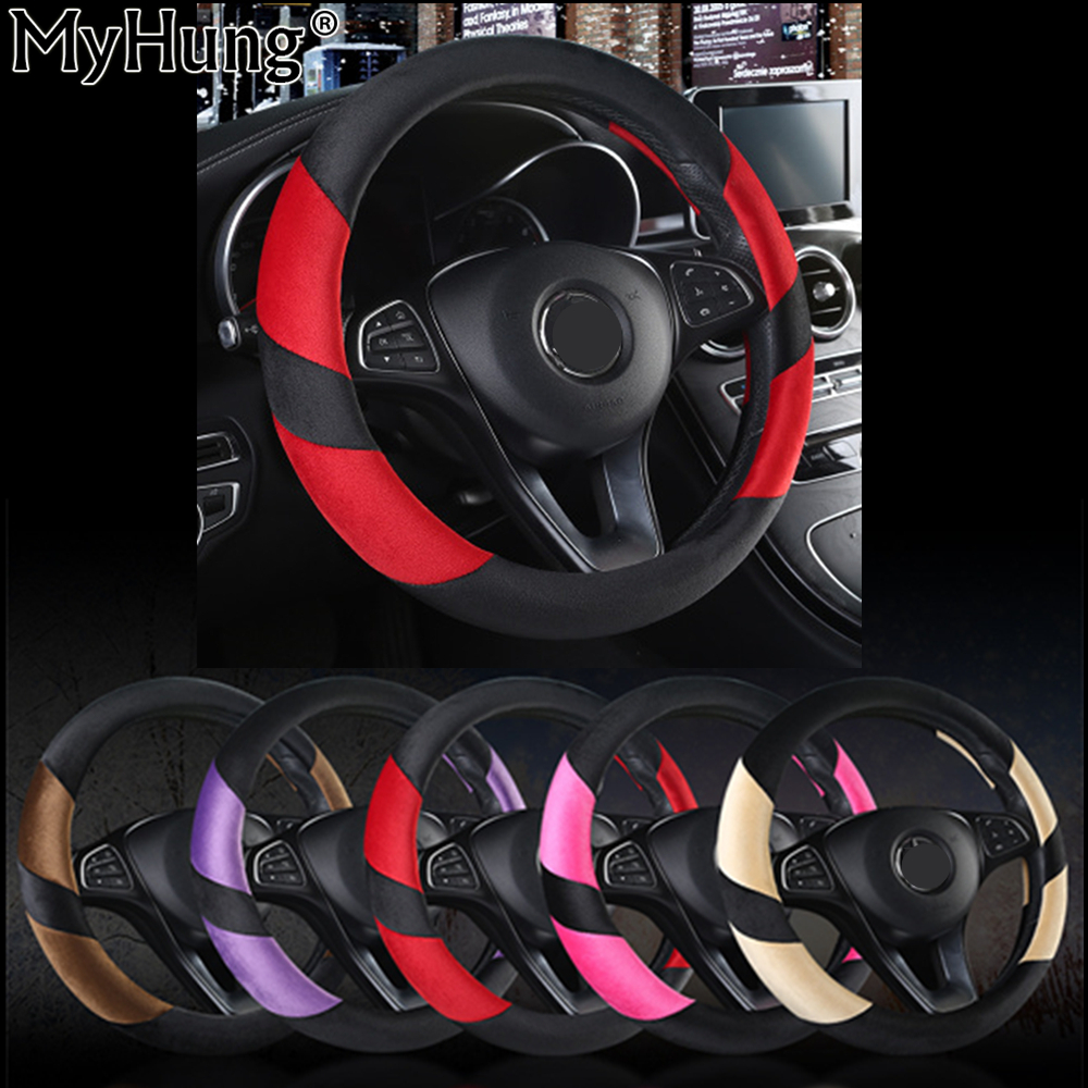 High Quality Winter Steering Wheel Cover Heated Steering Wheel Cover Winter Plush Steering Covers 38CM Fit All Cars Car-Styling