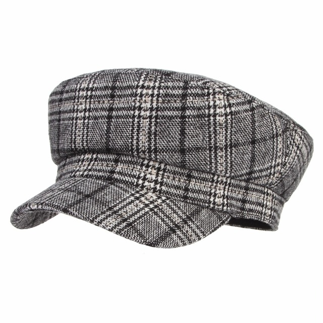 Women Plaid Wool Hat Fashion Artist Painter Octagonal Cap Autumn Winter  Warm Beret Hat Newsboy Caps edef1c63faaf