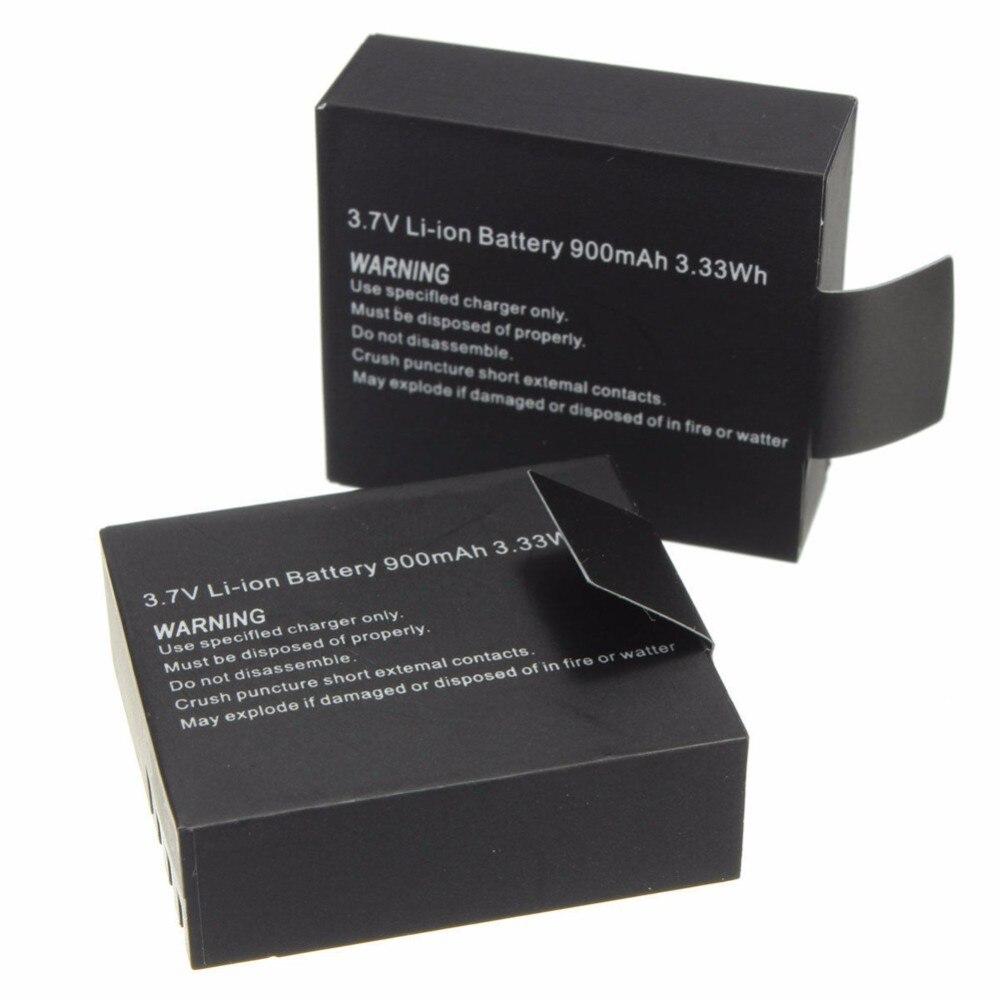 2 pièces 3.7V 900mAh Batterie Li-ion Rechargeable Pour SJ4000 WiFi SJ5000 WiFi M10 SJ5000x Elite Goldfox Caméra D'action