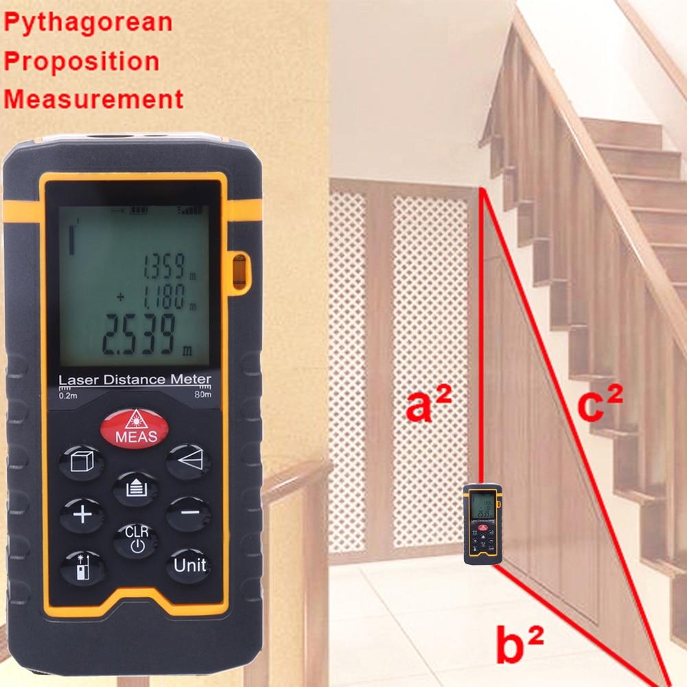3b60f63ebd 9-Key 80M/262ft. Digital Laser Rangefinder Laser Distance Meter Range  Finder Area Volume Measurement with Angle Indication