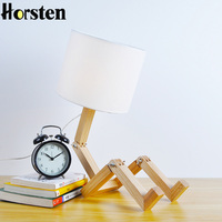 Horsten Nordic Modern Creative Gifts Foldable Robot Desk Table Lamps Wooden Base Table Lamp Bedside Reading