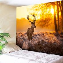Deer wschody i zachody słońca dekoracyjne gobelin ścienny 3D dekoracje ścienne obraz Psychedelic gobeliny ścienne wiszące Boho Decor tanie tanio Zwykły Drukowane Poliester bawełna Pranie ręczne Inne Można prać w pralce IKat hoME Rectangle Square Deer Tapestry