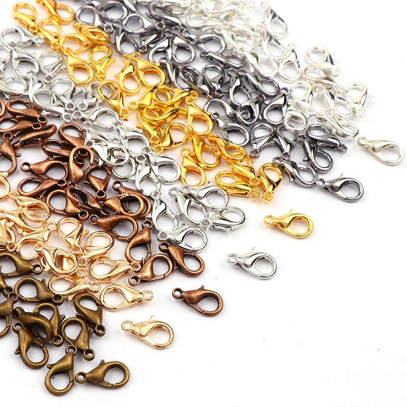 Mixed Color 12x6mm Gold&Silver&Copper&White K Lobster Clasps Hook Component DIY Jewelry Bracelet Making Accessories