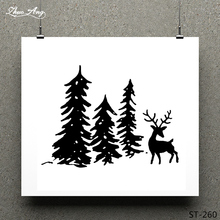 ZhuoAng Christmas Tree/Elk Clear Stamp for Scrapbooking Rubber Seal Paper Craft Stamps Card Making