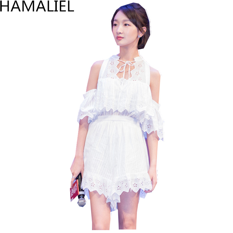 HAMALIEL Runway Summer Holiday Jumpsuit Romper 2018 Fashion White Lace Embroidery Hollow Out Sleeveless Female Beach Playsuit
