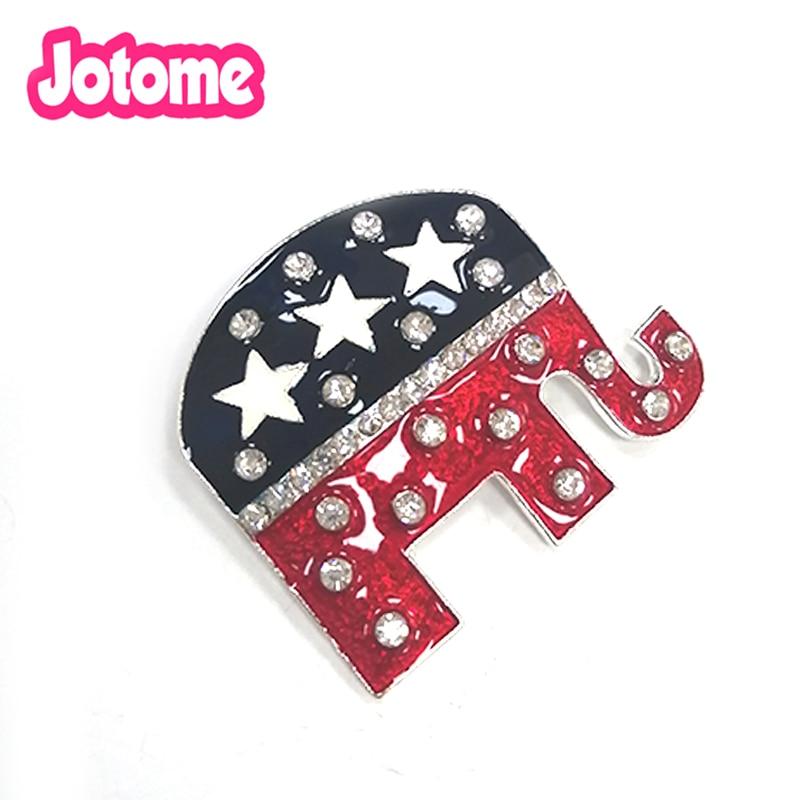 100 pçs/lote moda frete grátis strass esmalte eua americano republicano bandeira elefante patriotismo broche pino para o presente
