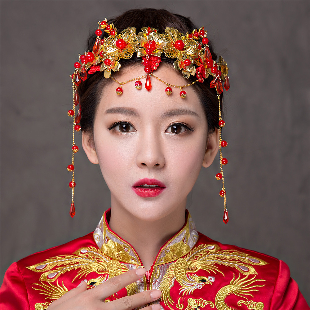new handmade chinese classical bridal tiaras vintage gold
