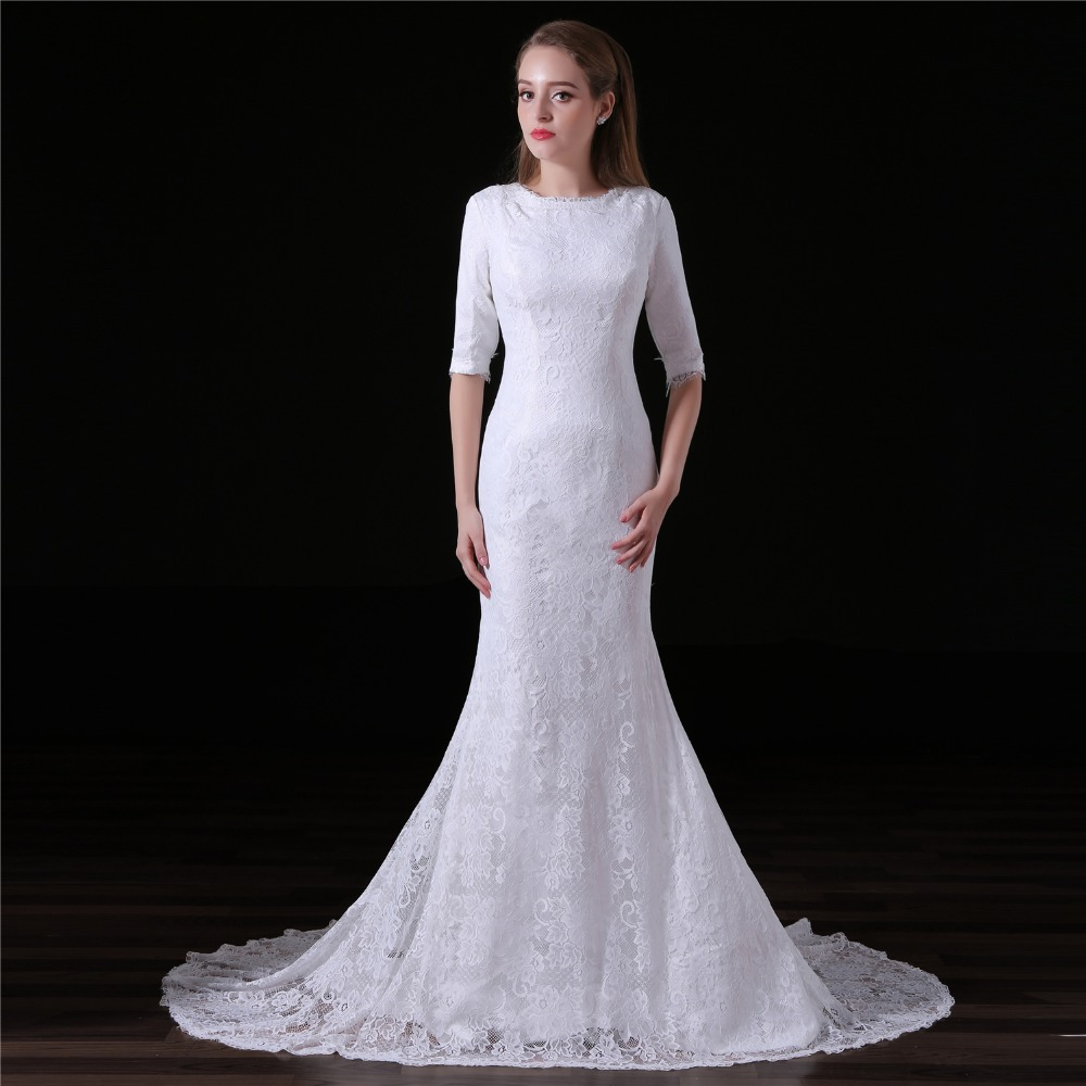 JaneVini Half Sleeves Lace Elegant Dress For Wedding Party White Mermaid Bride Bridesmaid Dress Long Gowns Formal Sweep Train