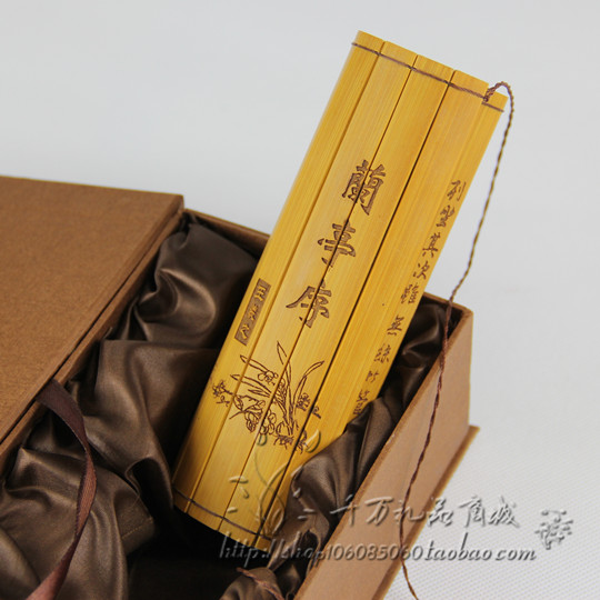 Chinese Classical Bamboo Scroll Slips Famous Book Of Preface Lan Ting Xun  Appro Size : 49.8 X 15.8 Cm
