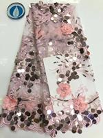 Nigerian Lace Fabric 2019 High Quality Lace 3d Lace Fabric Wedding White African With sequins Nigerian French Lace Fabric Pink(