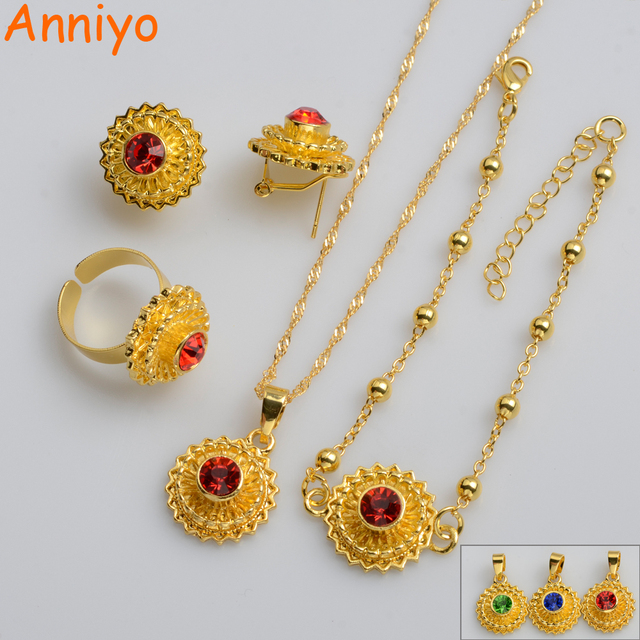 Anniyo Small Size Ethiopian Jewelry sets,RED/BLUE/GREEN STONE Habesha Eritrea Style/African for Women/Girls/Kids #066406