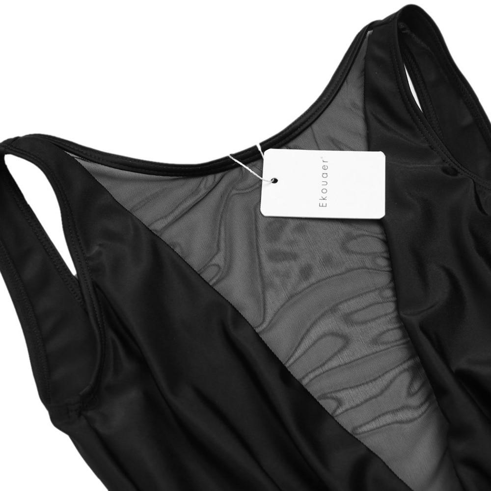 Ekouaer Women Sexy Deep V Neck One Piece Swimsuit High Waist Sheer Mesh Patchwork Swimwear Transparent Backless Slim Bodysuits 5