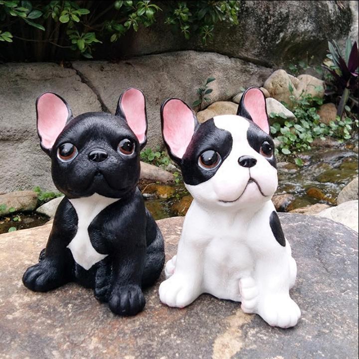 Modern resin dog statue mini animal gray hound sculpture French bulldog ornamentscreative figurine dog Home Decorations