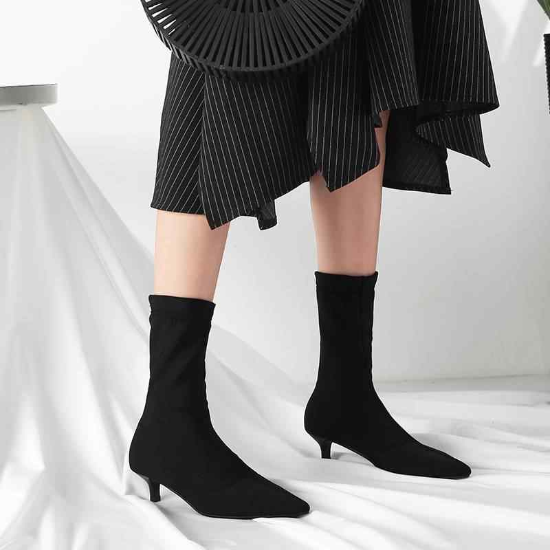 Krazing Pot 2019 kış garip med topuklu avrupa streç kayma on sivri burun kadın moda sıcak tutmak Chelsea yarım çizmeler L96