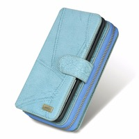 Multifunction Wallet Leather Case For Galaxy Samsung S6 S7 EDGE NOTE3 NOTE5 Zipper Purse Pouch Phone