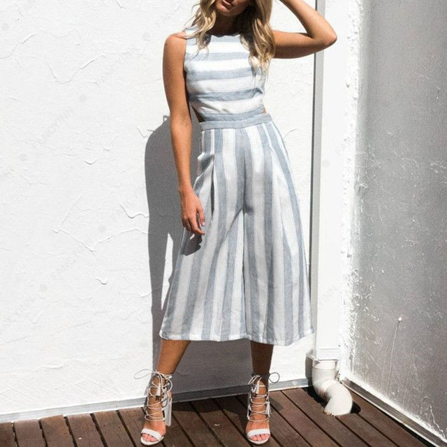 96a7f9888427 2018 Spring Summer Women Casual Sleeveless Striped Cotton Linen Backless Wide  Leg Jumpsuit Playsuit Pants