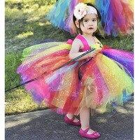 Korte Lengte Glittery Regenboog Tutu Jurk Ballerina Multi Kleur Bloem Meisje Sparkle Prinses Verjaardagsfeestje Tutu Jurken 1-10 Y