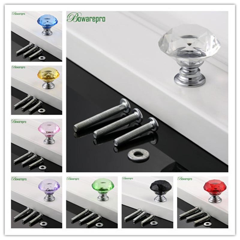 Bowarepro 30mm Diamond Crystal Glass Furniture Handle Hardware Furniture  Door Handle Cabinet Knobs Dresser Handle 1 Knob+3Screw