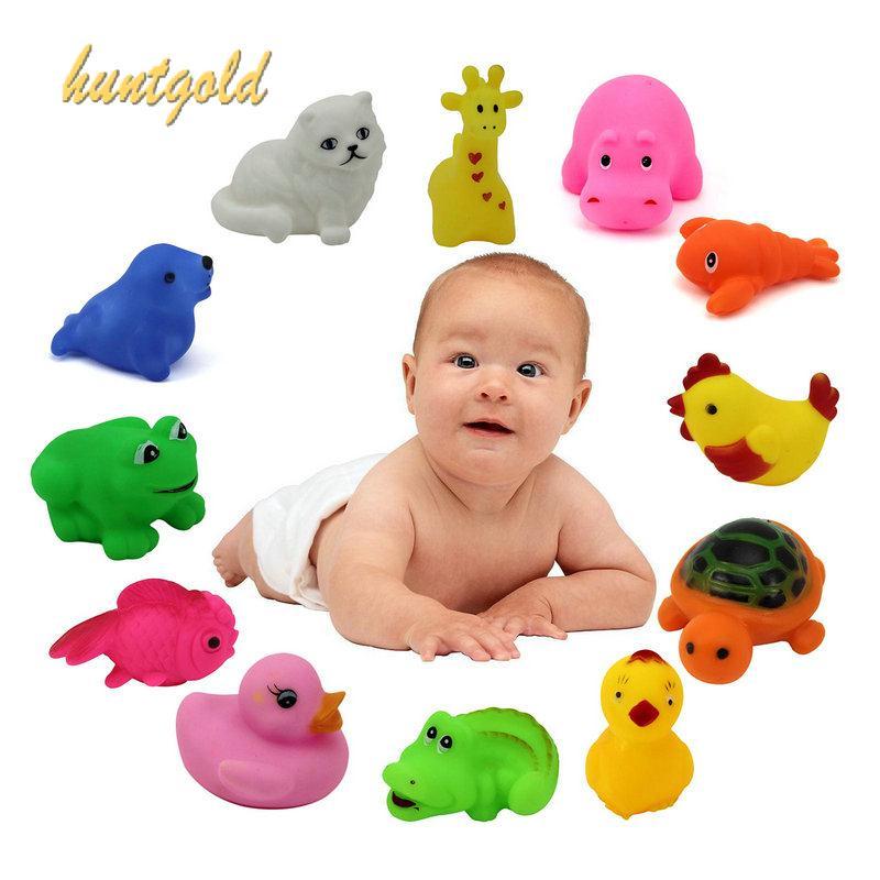2 pcs/Lot random Mixed Different Cute Animal baby Rubber Bath Toys ...